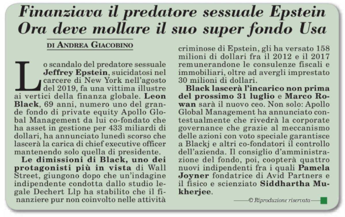 Il sexgate di #Epstein costa la poltrona a #Black. Su @ItaliaOggi 27/01/21. @apolloglobal