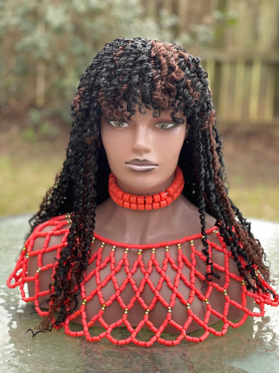 Excited to share this item from my #etsy shop: Braided wig. Passion wig. Bang wig. Length is 18 inches. Colors black & brown. #black #lightweight #naturalblack #africanexpression #neatlydone #2yearsguaranteed #boxbraids #knotlessbraids #choosecolor