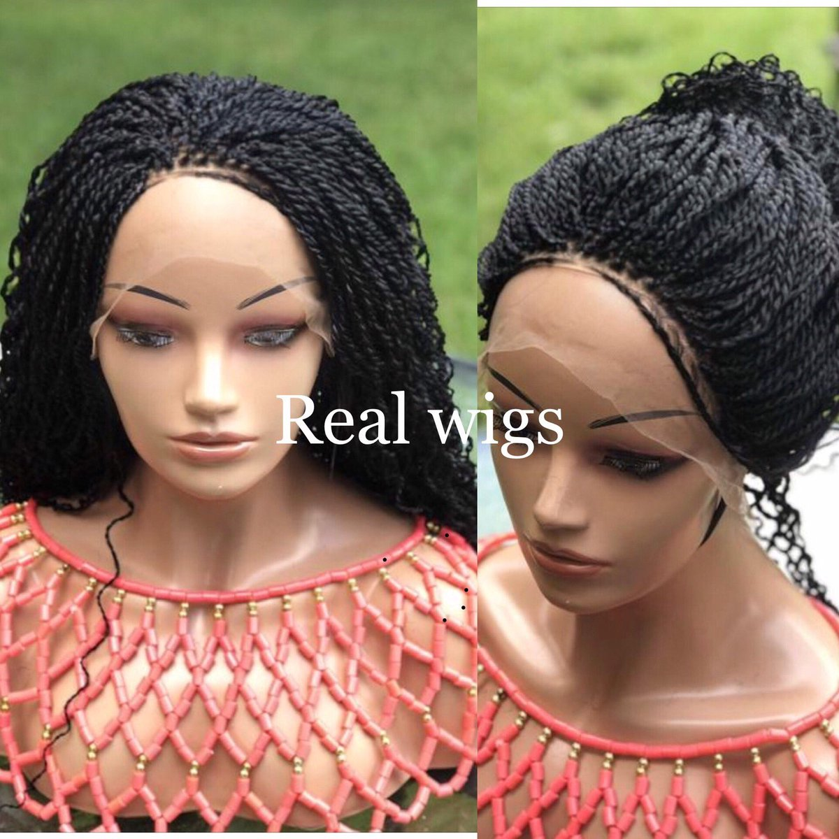 Excited to share this item from my #etsy shop: Braided wig water wave.The length in the picture is 22inches. #black #gluelessfrontal #synthetic #madetoorder #curlywig #adjustableband #tanglefree #braidedwig #lacwig