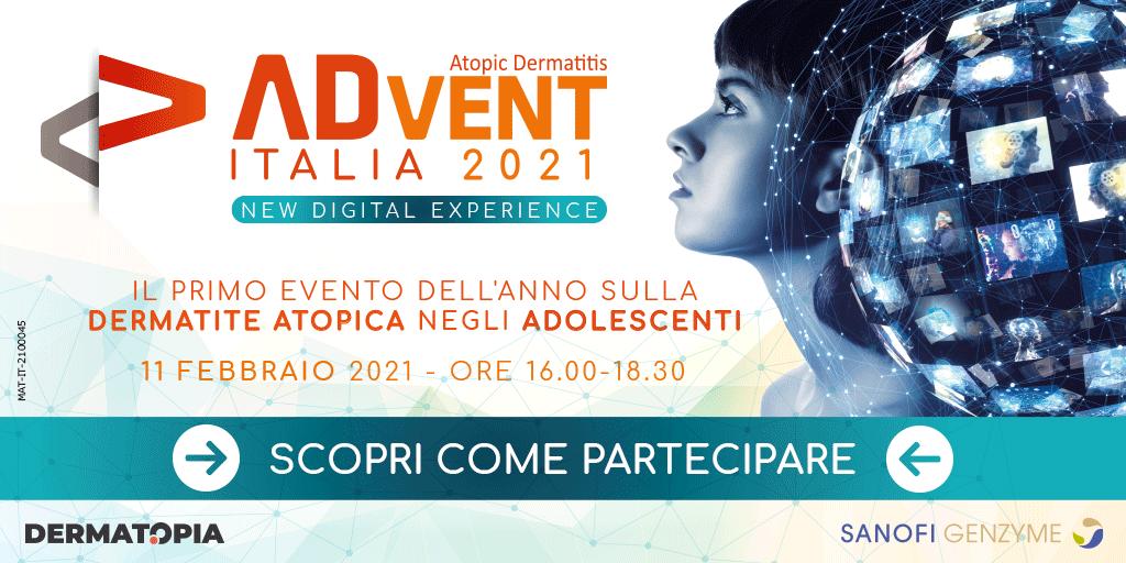 #DermatiteAtopica negli adolescenti, un evento online per capirne di più l'11 febbraio 2021 (dalle 16 alle 18.30) con #ADvent Italia 2021 - New Digital Experience. Scopri l'approfondimento