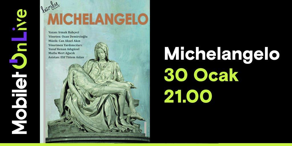 """Michelangelo Tiyatro Oyunu ilk kez dijital platformda, Mobilet Olive ile karşınızda! """"Mermere sıkışmış bir melek gördüm ve onu özgürlüğüne kavuşturuncaya dek mermeri oydum."""" Michelangelo"""