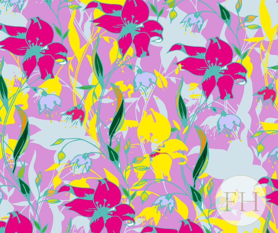 It's a Powerful Pink Wednesday and Desert Lilly in Lila Lilly Zest has all the Powerful Pink Tones needed to uplift this Wednesday in Fabric Luxury! Have a Fabulous Wednesday Everyone!🌺  #fabric #pink #floral #interiordreams #designer #Flowers
