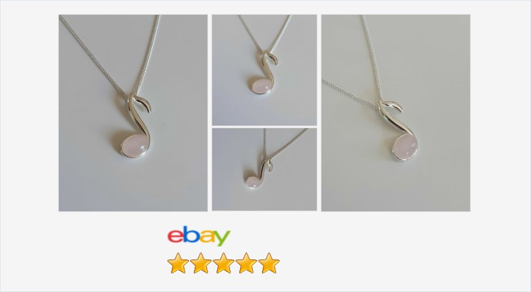 Brand New 925 Sterling Silver and Rose Quartz small music note Necklace | eBay #sterlingsilver #rosequartz #cabochon #musicnote #pendant #necklace #pink #rose #music #handmade #jewellery #gifts #giftideas #jewelry #giftsforher #prettything #accessories