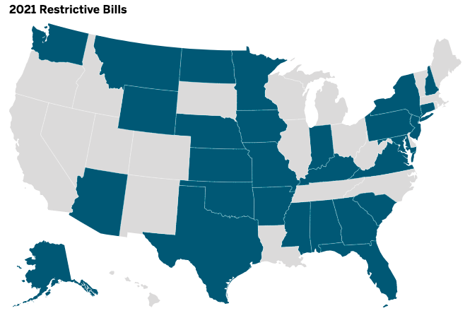 106 bills introduced in 28 states already this year to restrict voting access, finds @BrennanCenter   That's 3x as high as last year  GOP weaponizing Trump's lies to make it harder to vote