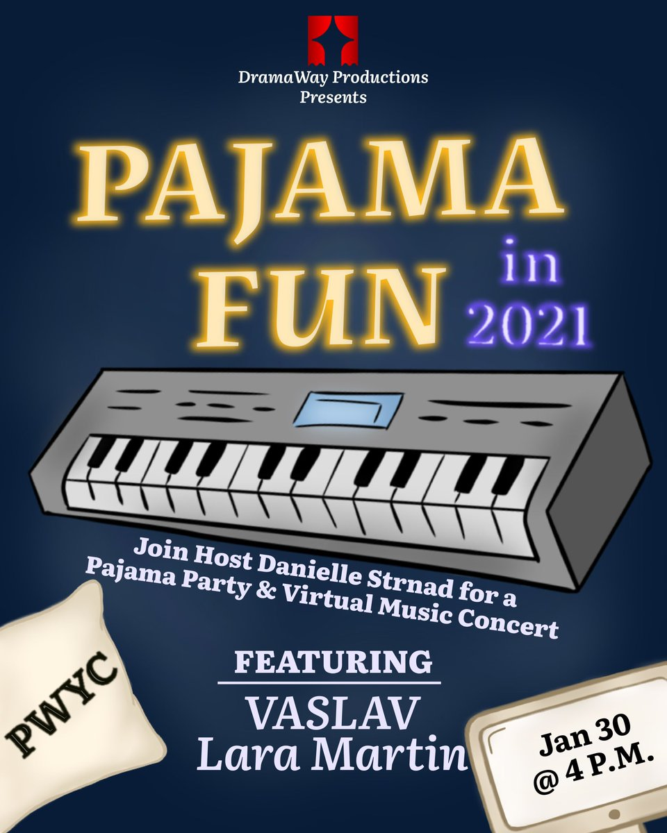 Join our Founder & Executive Director Danielle Strnad as she Hosts Pajama Fun in 2021 this coming Saturday featuring music by @VASLAVmusic & @LarimarCanada ! #MusicForAllAbilities #PWYC #PJS #LiveConcert #FamilyFun #DramaWayArts