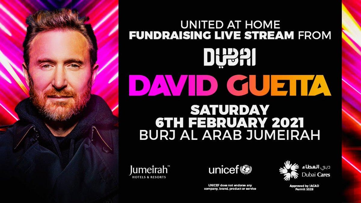 """#UnitedAtHome"""" goes next level: am 6. Februar spielt @DavidGuetta eine Livestream-Performance vom  Hubschrauberlandeplatz des ikonischen Burj Al Arab Jumeirah in Dubai. Erneut werden Spenden für den guten Zweck gesammelt:"""