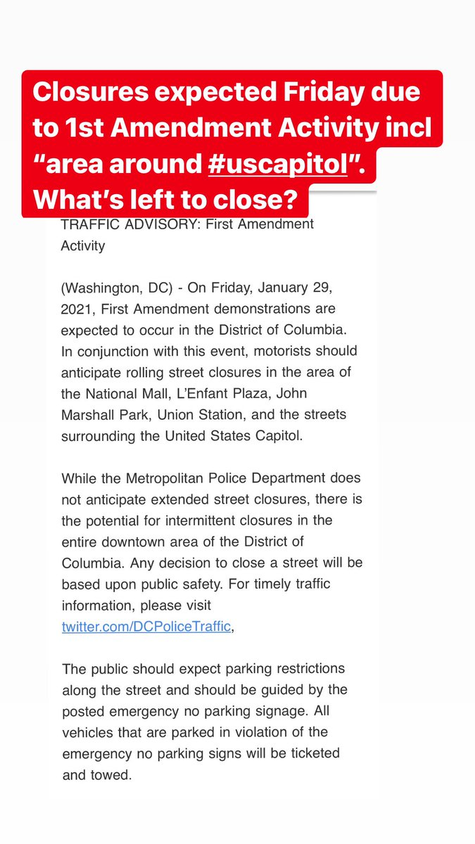 More closures: @DCPoliceTraffic reports there will be closures Friday due to expected 1st Amendment activity, incl around the #USCapitol