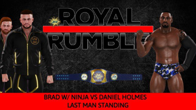 Kicking off this PPV will be the JOW World Championship rematch. Former World Champion Daniel Holmes gets his rematch against the current champ Brad who will be bringing his tag team partner Ninja by his side. Who will be the last man standing? https://t.co/3ojRq9Ks0V