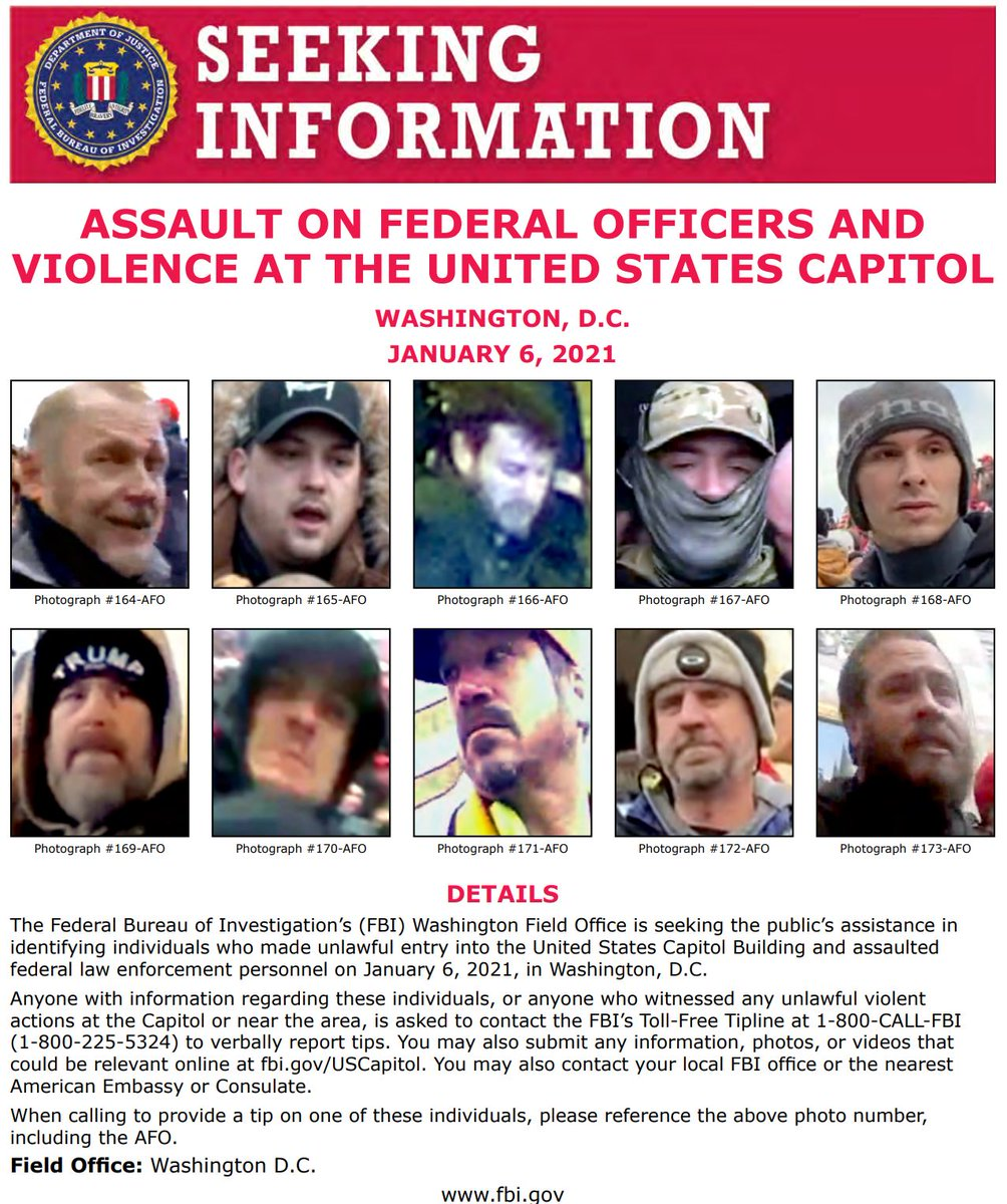 NEW: #FBIWFO is seeking the public's assistance in identifying individuals who made unlawful entry into the US Capitol on January 6th. If you have info, call 1800CALLFBI or submit to .