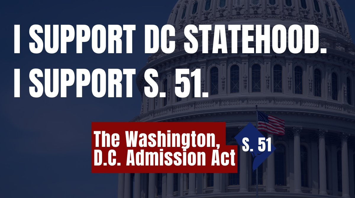 #DCStatehood isn't a Republican or Democratic issue.   It's an American issue because the lack of fair representation given to D.C. residents is clearly inconsistent w/ the values on which this country was founded. It's why I'm proud to introduce #S51 in support of #DCStatehood.
