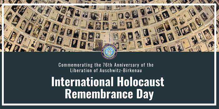 Today marks 76 years since the liberation of Auschwitz. As we mourn the tragic loss of the six million Jews who were murdered by the Nazis and their collaborators, let us recommit to fighting anti-Semitism and bigotry in all its forms. #HolocaustRemembranceDay