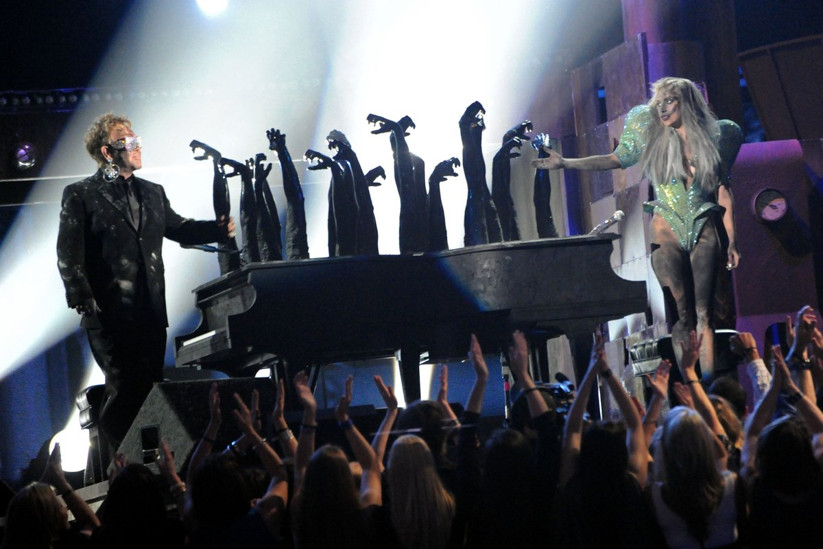 "In 2010, @ladygaga and Elton John (@eltonofficial) opened the 52nd #GRAMMYs with #LadyGaga's ""Poker Face"" and ""Speechless,"" and #EltonJohn's ""Your Song."" 🎵 #GRAMMYVault"