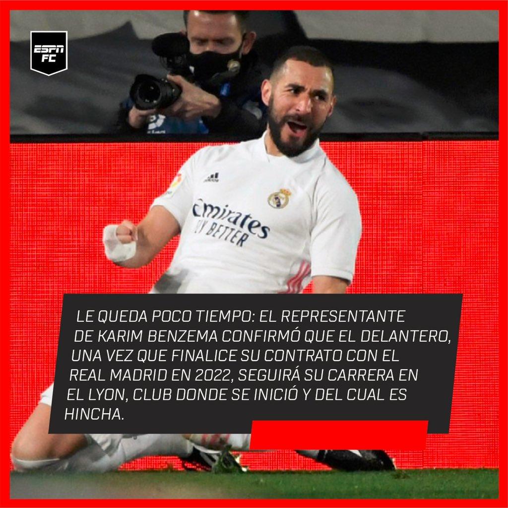 La gran etapa de Karim #Benzema en el #RealMadrid va llegando a su fin: su representante dijo que una vez que finalice su contrato, el delantero se irá al fútbol francés. 🔜 🇫🇷