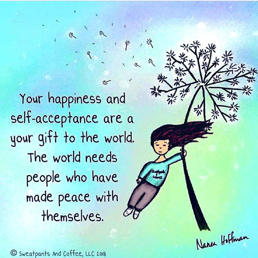 Your HAPPINESS & Self-Acceptance are your gift to the World.  The World needs people who have made PEACE with themselves‼️💖😊 #SelfLove #InnerPeace #Contentment #SweatpantsAndCoffee  #WednesdayThoughts #WednesdayMotivation