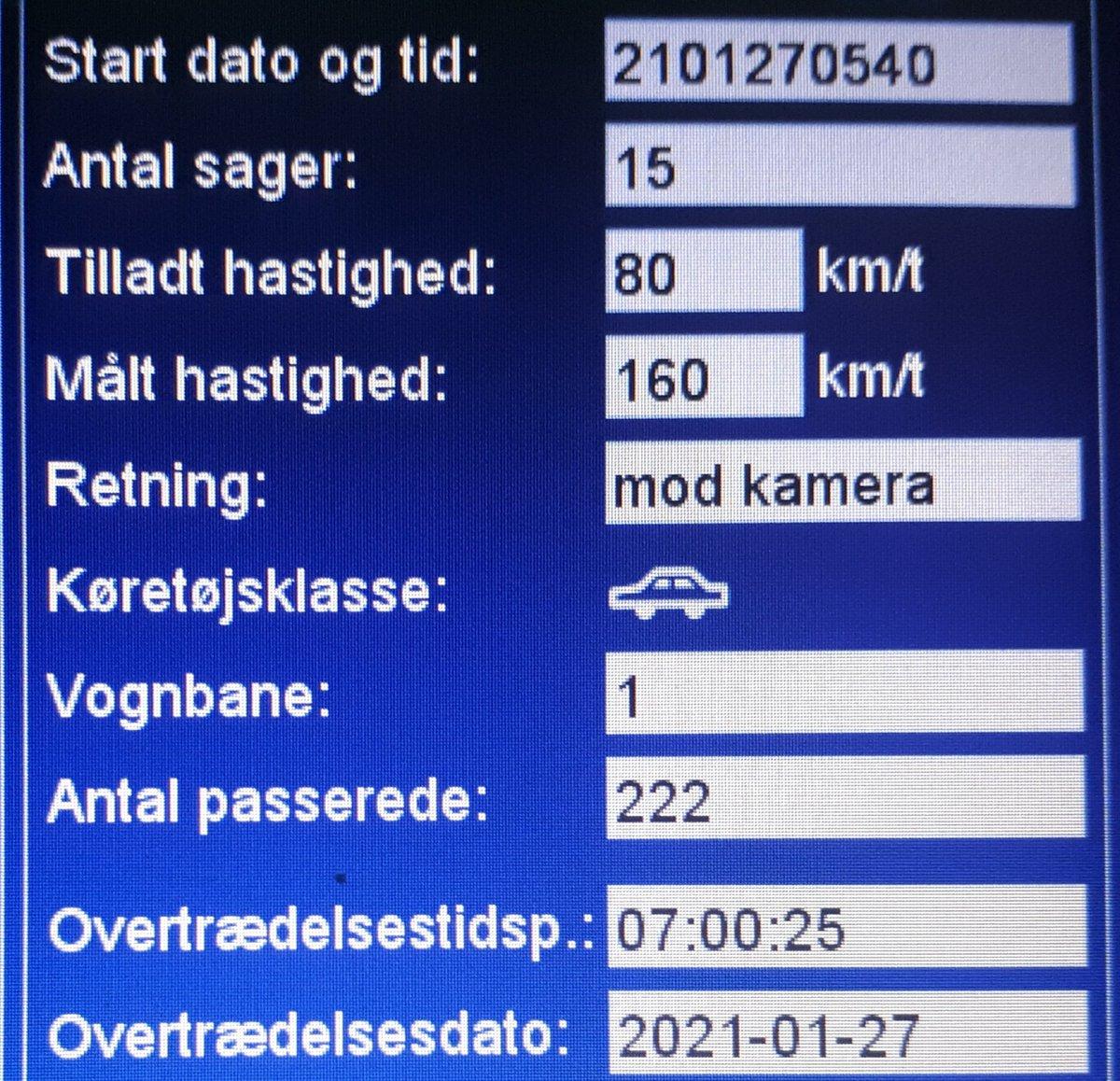 Fotovognen har været på Hovedvejen syd for Døstrup i Tønder komm. Selvom vejene var glatte og der blev saltet. valgte en billist kl. 7.00 at køre 160 km/t. Ialt blev 28 blitzet. Husk: Dem som kører fornuftigt, hjælper til at alle kommer sikkert frem #atkdk #politidk https://t.co/NX73NfII4O