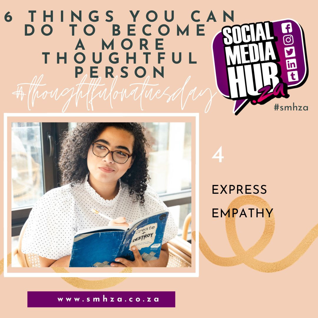 💜 Empathy means understanding how another feels even if you don't feel that way. 😍  Credit: Mark Sanborn 💬  #smhza #socialmediahubza #thoughtfulonatuesday #thought #thoughtful #thoughtfulness #consideration #relationships #value #values #think #kindness #kind #others