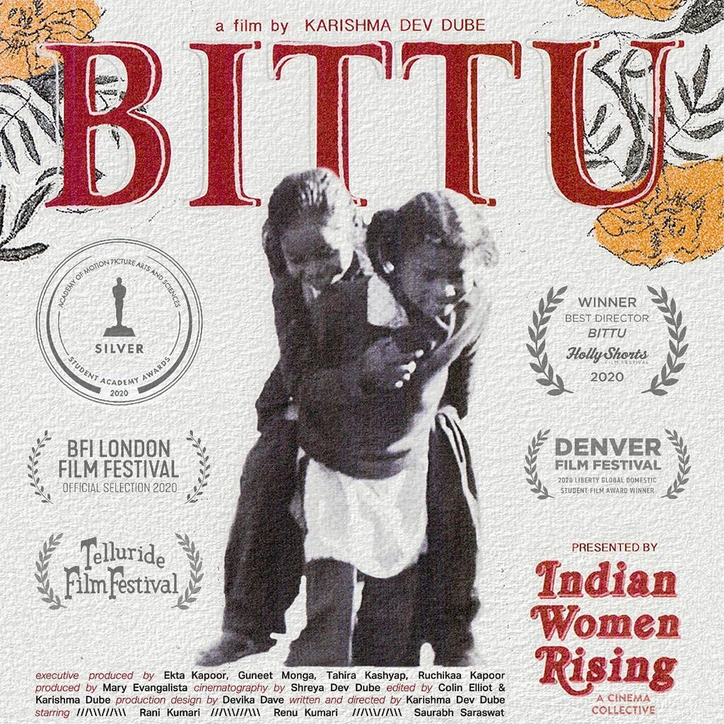 Wishing team #Bittu and @IndWomenRising all the best for the journey at the 2021 Academy Awards! The short film narrates a sensitive story in a fresh and mature manner, and will definitely encourage more women creators and voices.  @tahira_k @guneetm @KarishmaDevDube