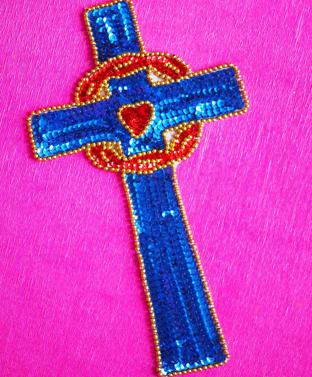 Here are some colourful ideas and uses for your shiny Sequin cross patch. 🙏    #mexican #religiousart #wednesdaythought #WednesdayMotivation #thismorning #wellbeingwednesday #kitsch #etsyshop