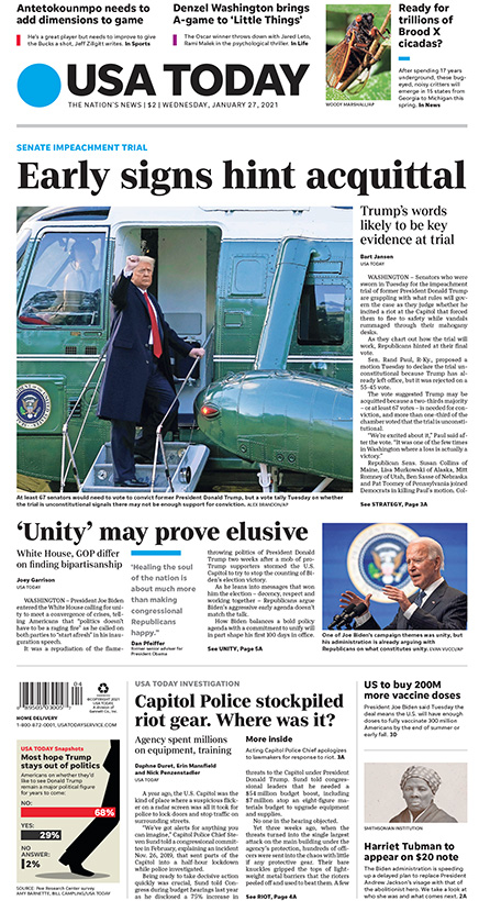 On today's #frontpage:  –Early signs hint impeachment acquittal: Donald Trump's words are likely to be key evidence at the trial. –Ready for trillions of Brood X cicadas? After spending 17 years underground, these noisy critters will emerge in 15 states this spring.