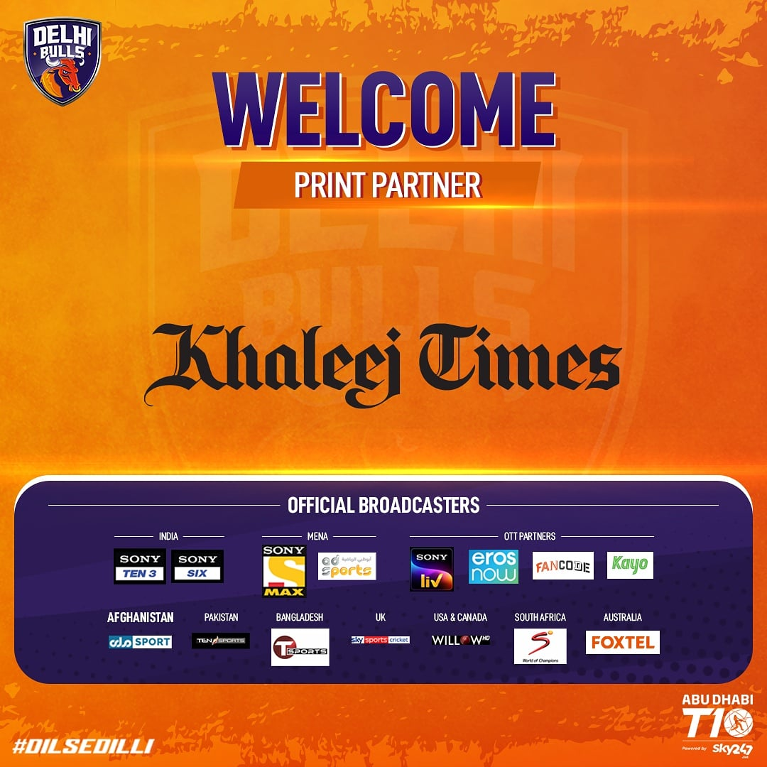 We are proud to present @khaleejtimes as our official Print Partner for Season 4️⃣ of #AbuDhabiT10! 😊👏  #KhaleejTimes #DilSeDilli #DelhiBulls #DelhiBullsT10 #InAbuDhabi #T10Cricket @T10League https://t.co/YFo9hkousA