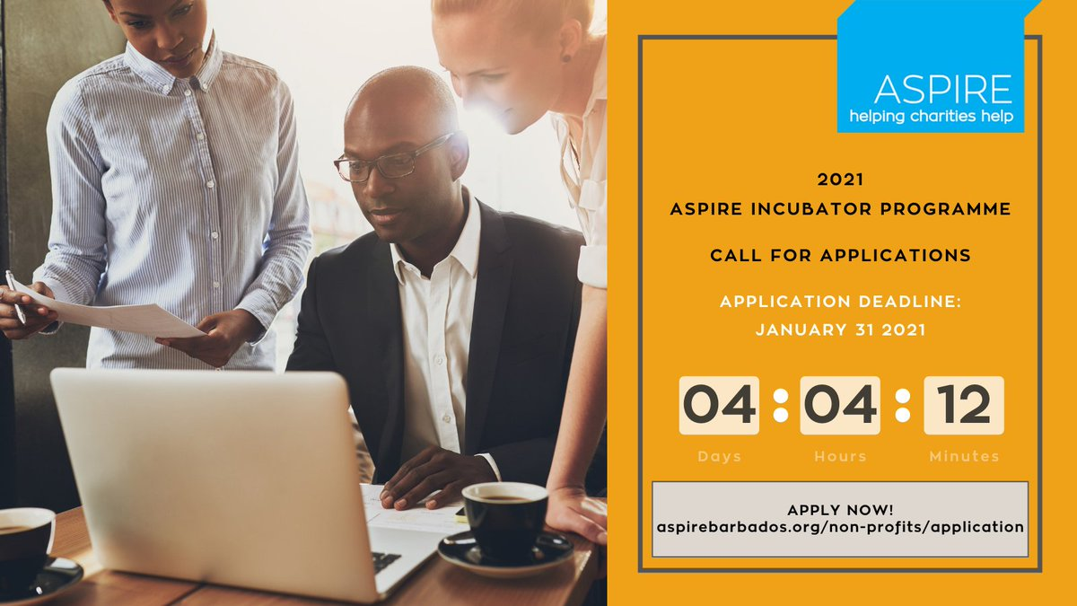 We are T-4 days away! The search for our next cohort of social changemakers & innovators continues. Have you applied? There's still time! Click the link in our bio. #aspireincubator #ngos #Barbados #socialimpact #socialinvestment #aspirebarbados #helpingcharitieshelp
