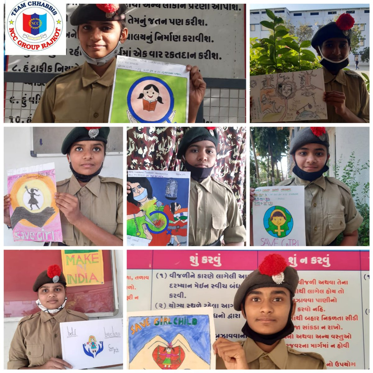 #NationalCadetCorps #Gujarat  #Equality JW Cdts of #26GujBn fm KP Girls High School #Wadhwan participated in  poster making  organized by SO Reshma Joshi, ANO 2 celebrate  #NationalGirlChildDay2021 @SpokespersonMoD @HQ_DG_NCC @MunjaparaDr @PIBAhmedabad @Info_Srn @smritiirani