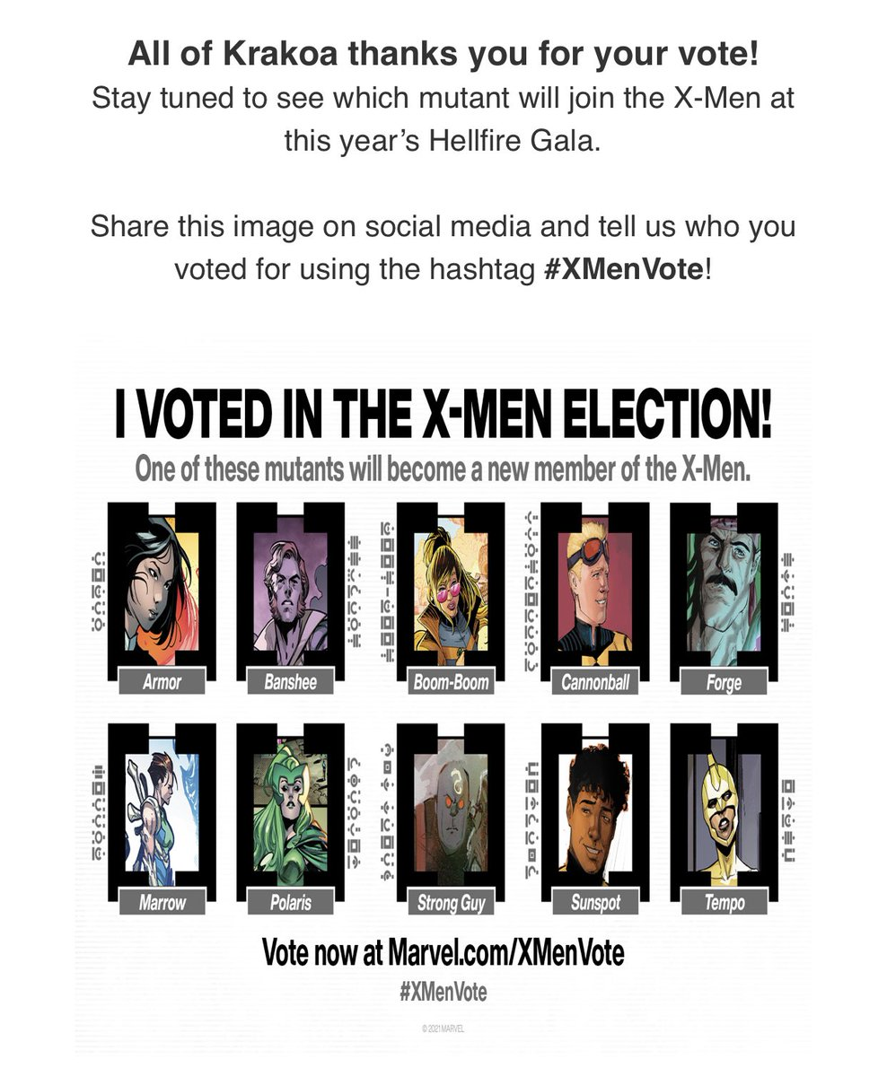 #XMenVote I voted for #Marrow!!