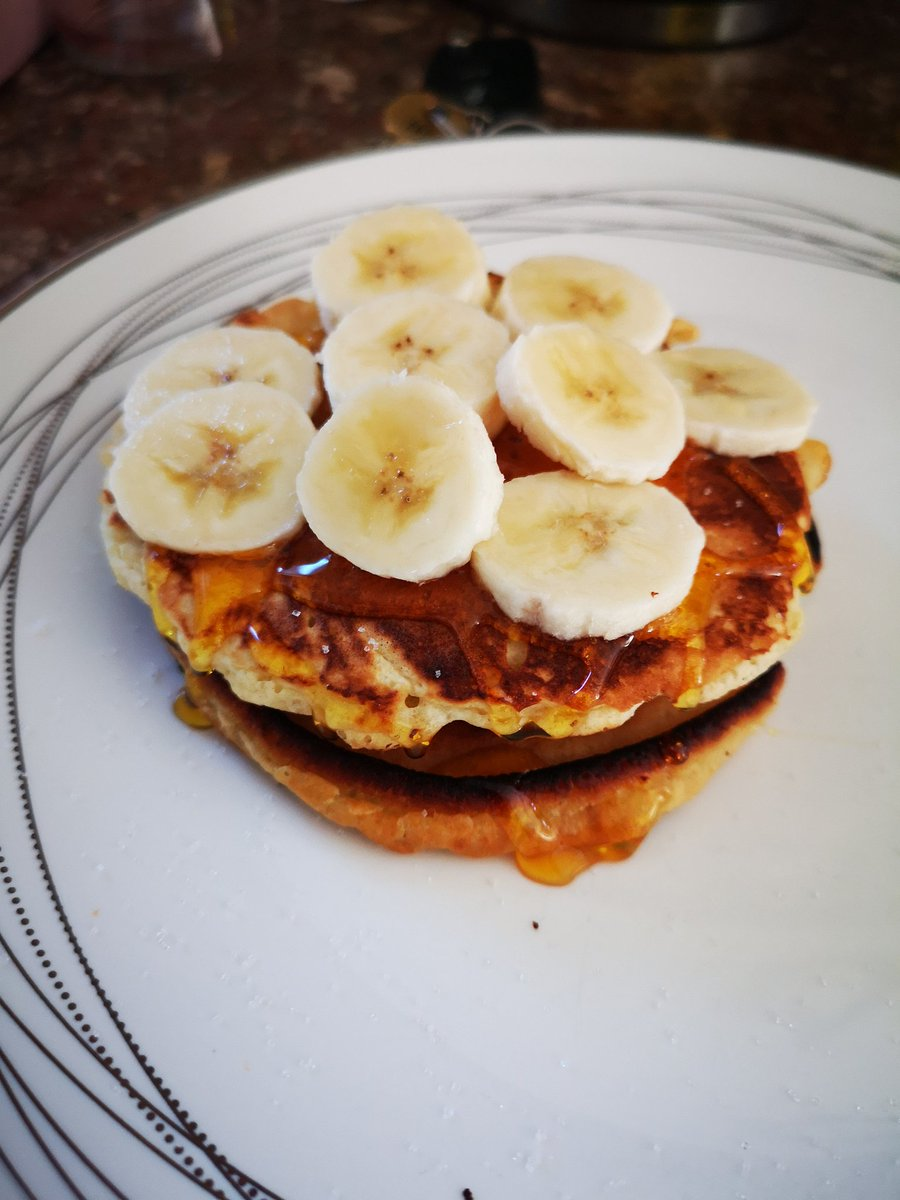 They're fluffier than they look! 😍 😋 #homemade #pancakes #banana #syrup #breakfast #yummy #delicious #FromScratch
