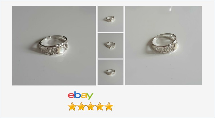 New 925 Sterling Silver Ladies Scroll Ring set with a Mother of Pearl sizes J-R | eBay #sterlingsilver #motherofpearl #cabochon #shell #scroll #ring #handmade #jewellery #giftideas #gifts #giftsforher #prettything #jewelry #jewelrylover #gemstonejewelry