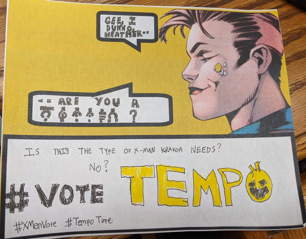 #XMenVote #VoteTempo #TempoTime   Spotted in the wild... Not looking good for Marrow. 😒😒😒