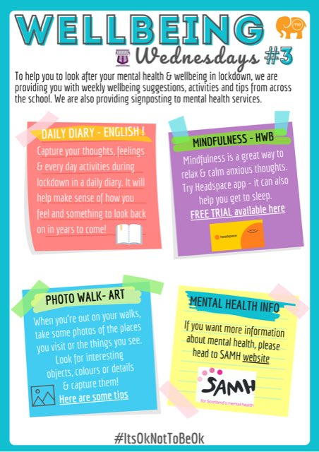 🌈PUPIL WELLBEING WEDNESDAY 3   This week we're are providing some wellbeing tips & links to help reduce anxiety & make walks more interesting.  It's ok not to be ok. We hope you're looking after yourselves & we miss you all. #mentalhealth #anxiety #wellbeing #schools #COVID19