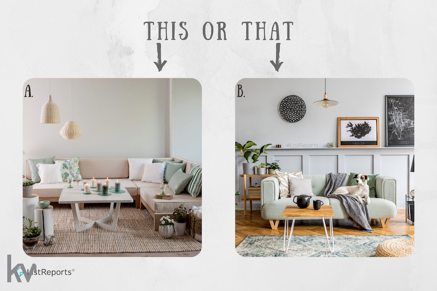 When you think of your ideal living room, do you think A - neutral zen or B - comfy cozy with your bestfriend? Let me know in the comments! #thehelpfulagent #home #houseexpert #listreports #homeowner #realestateagent #thisorthat #homedecor #homestyle #decor #wednesdaythought