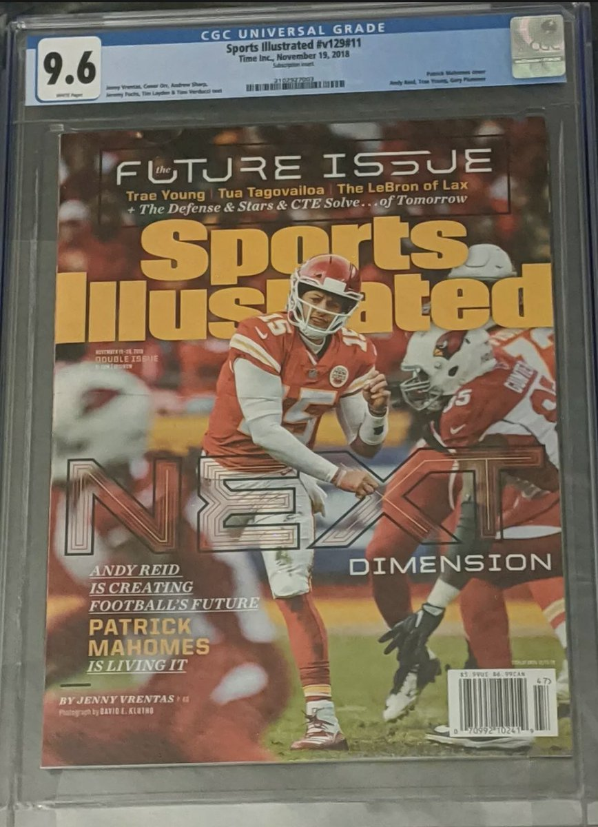 With Super Bowl LV we get the Chiefs and Bucs.  This is Patrick Mahomes first Sports Illustrated cover from 2018, show here graded at 9.6.  This issue recently sold for over $500 #cgc #SuperBowl #Buccaneers #tampa #KansasCity #NFL #SaveAMC #wednesdaythought #WednesdayMotivation