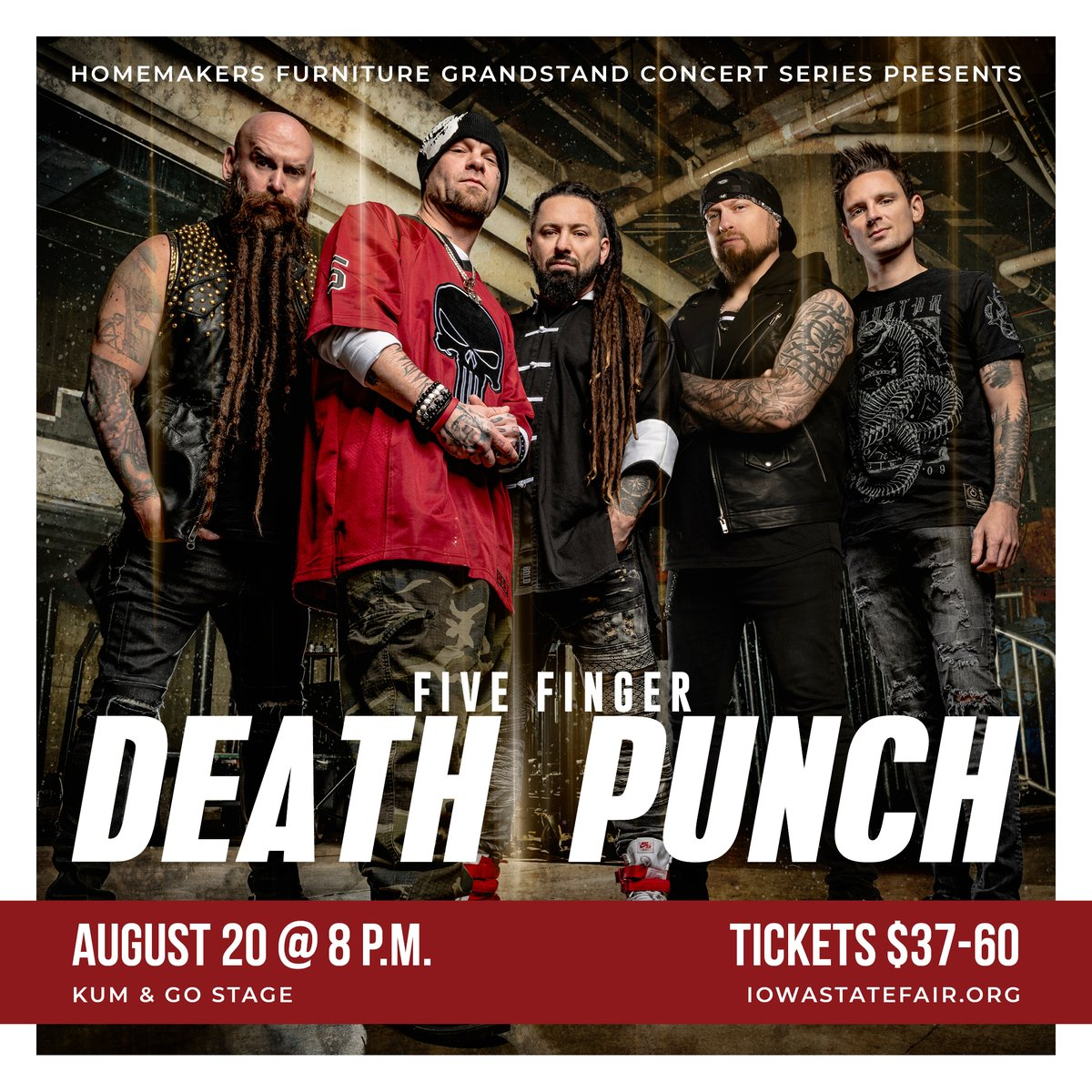 The latest in the Iowa State Fair Grandstand Concert Series presented by Homemakers Furniture is @FFDP! The band will perform on Friday, August 20 at 8 p.m. Tickets go on sale to the public this Friday (Jan. 29) at 10 a.m. Are you in? 👊 #Grandstand2021