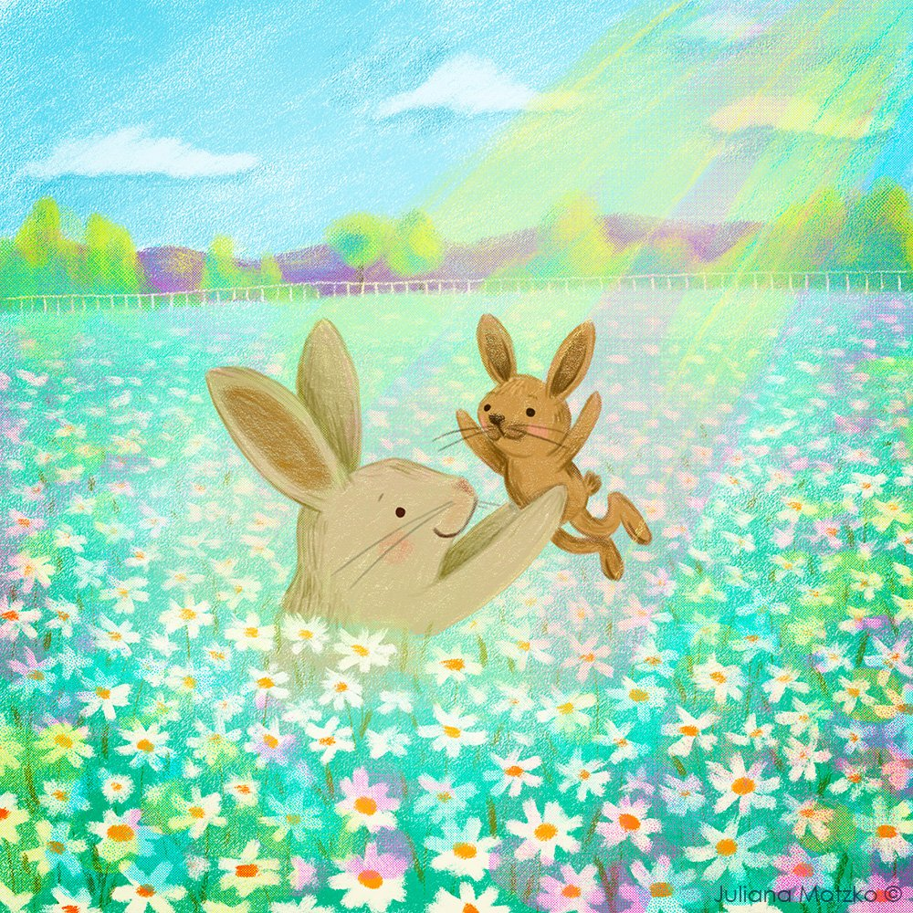 Celebrating Life 💐💛✨  #Family #Bunny #animal #Love #Life #CelebratingLife #MotherandBaby #BabyBunny #cute #parenting #MothersDay #cuteness #Easter #Rabbit #picturebook #childrensbook #illustration #illustrator #nature #kidlitart #kidlitartist #插图师  #插画 #JulianaMotzko