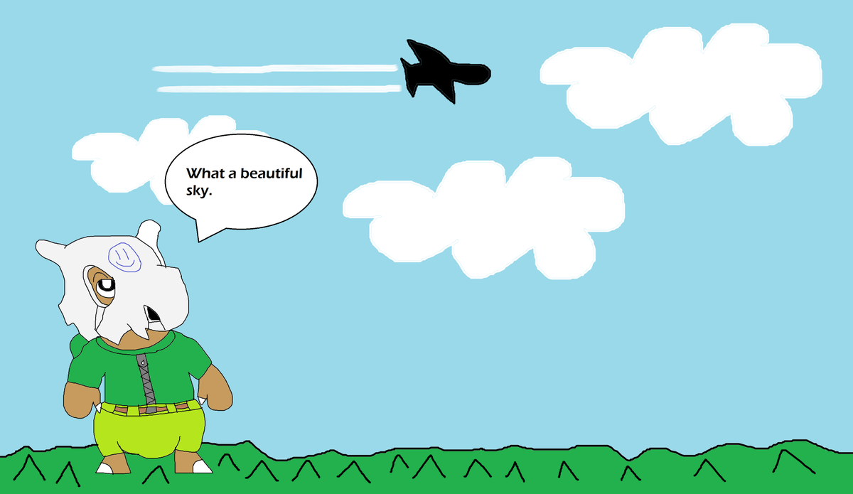 Jack is watching the beautiful blue sky with clouds and a airplane #cubone #Pokemon #clouds #airplane #cute #Nintendo