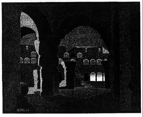 Nocturnal Rome, Colosseum, 1934 #mcescher #surrealism