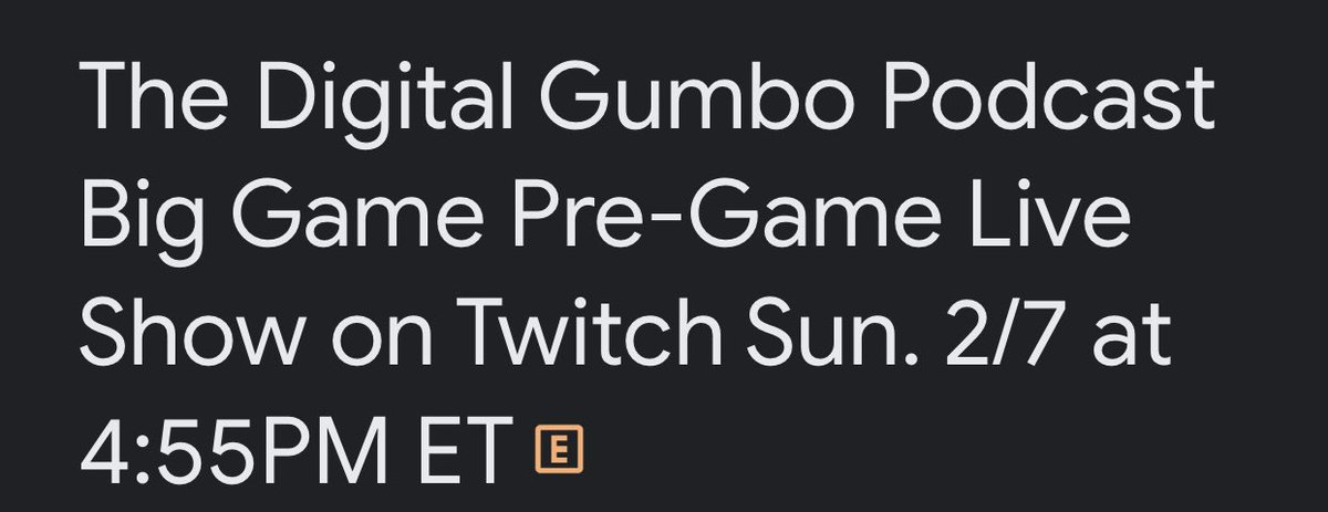 @thedigitalgumbo Big Game Pre-Game Show Coming Live to #Twitch on Sun. 2/7 at 4:45PM ET. Be There! Details Here:    #SaveAMC #XMenVote #Goya #humor #beal #russ #Mozart #thedigitalgumbopodcast #wednesdaythought #WednesdayMotivation