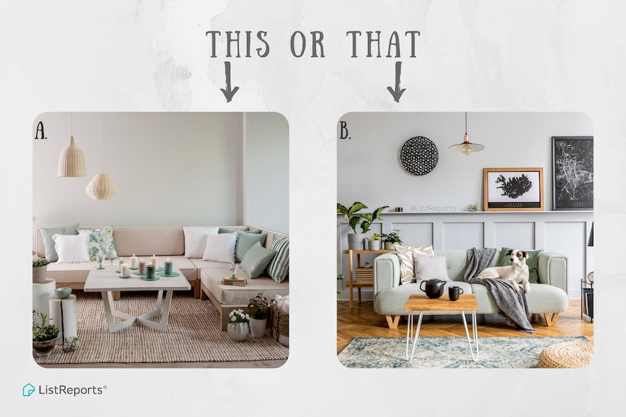 When you think of your ideal living room, do you think A - neutral zen or B - comfy cozy with your bestfriend? Let me know in the comments! #thehelpfulagent #home #houseexpert #house #fathomrealty #homeowner #realestate #realestateagent #thisorthat #homedecor #homestyle #decor https://t.co/BfHWlEyjbq