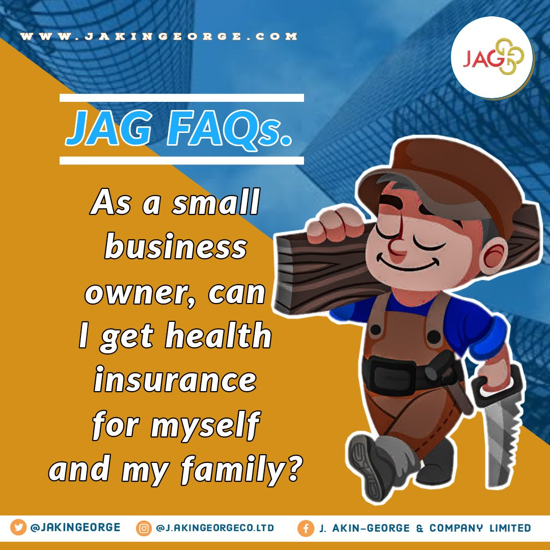 It's JAG FAQs Wednesday again friends.  Yes, as a small business owner, you can get health insurance for yourself, family and members of staff of the business. And guess what, we can help you with that. Contact us today and your health will be glad you did.  #WednesdayMotivation