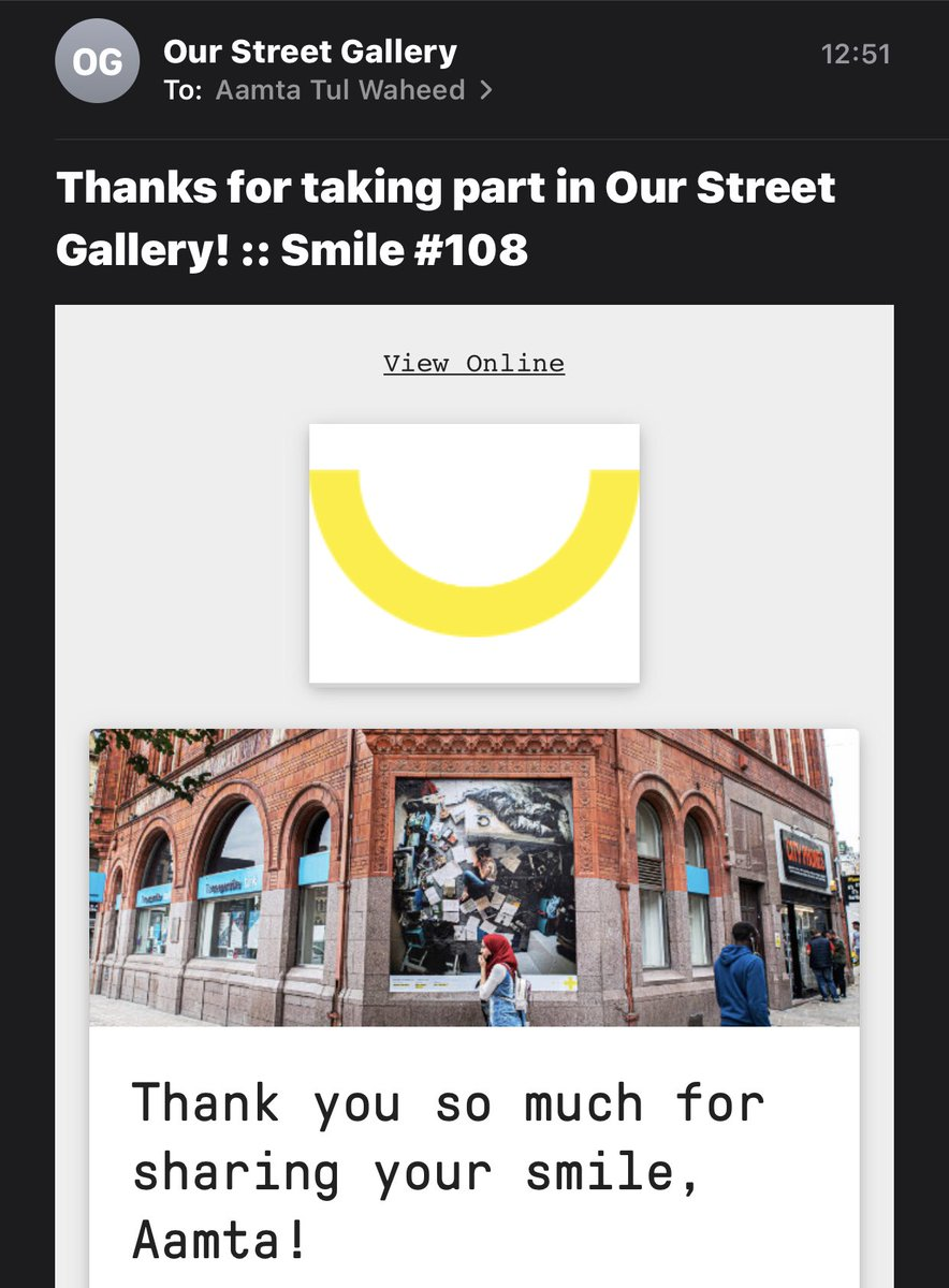 Shared my smile with @osg_bradford today smile 108 😊 such a great way to connect during #COVID19 #smile #StayConnected #MentalHealthAwareness #StaySafe #PositiveVibes #BeKind