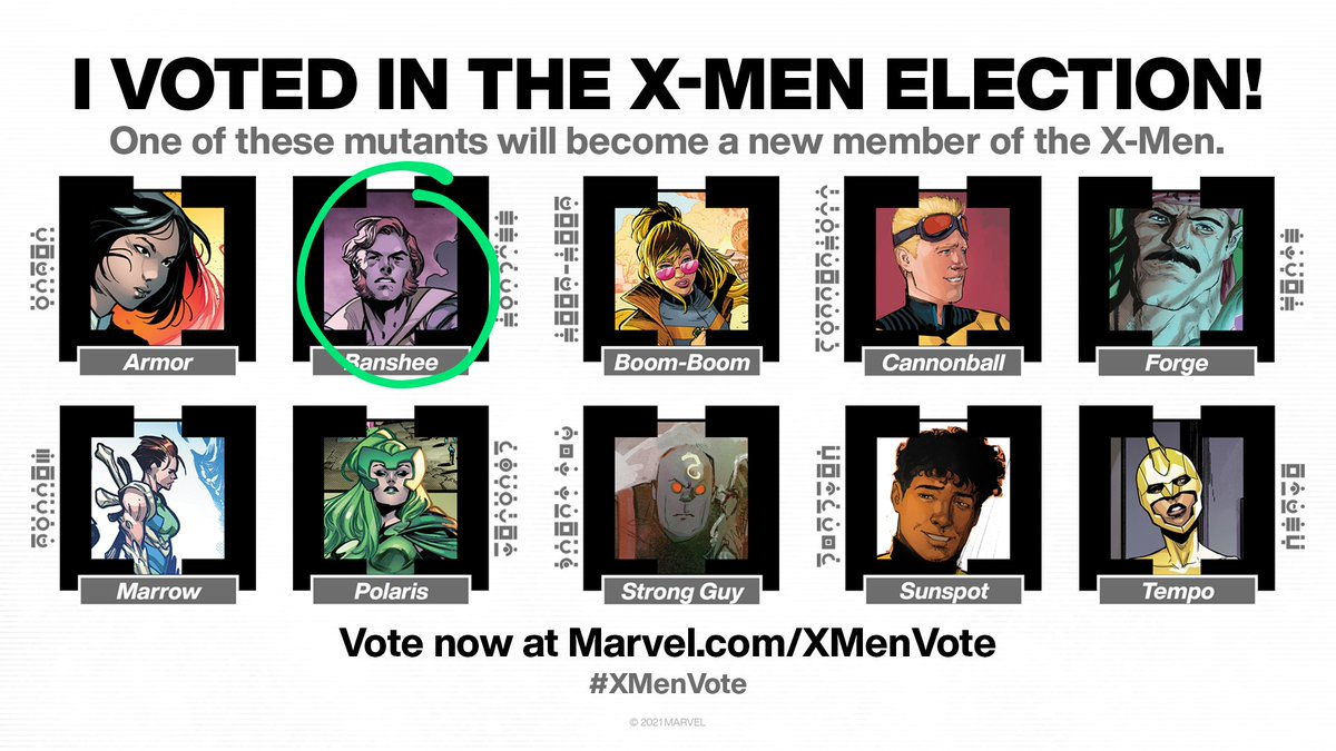 A vote for #Banshee is a vote for a man who: - Has the strongest service record of all candidates, incl while dead (TWICE!) - Is an espionage expert - Was on Krakoa from the beginning - Reunited the X-Men when needed most  - Believes in training future Generations (X)  #XMenVote