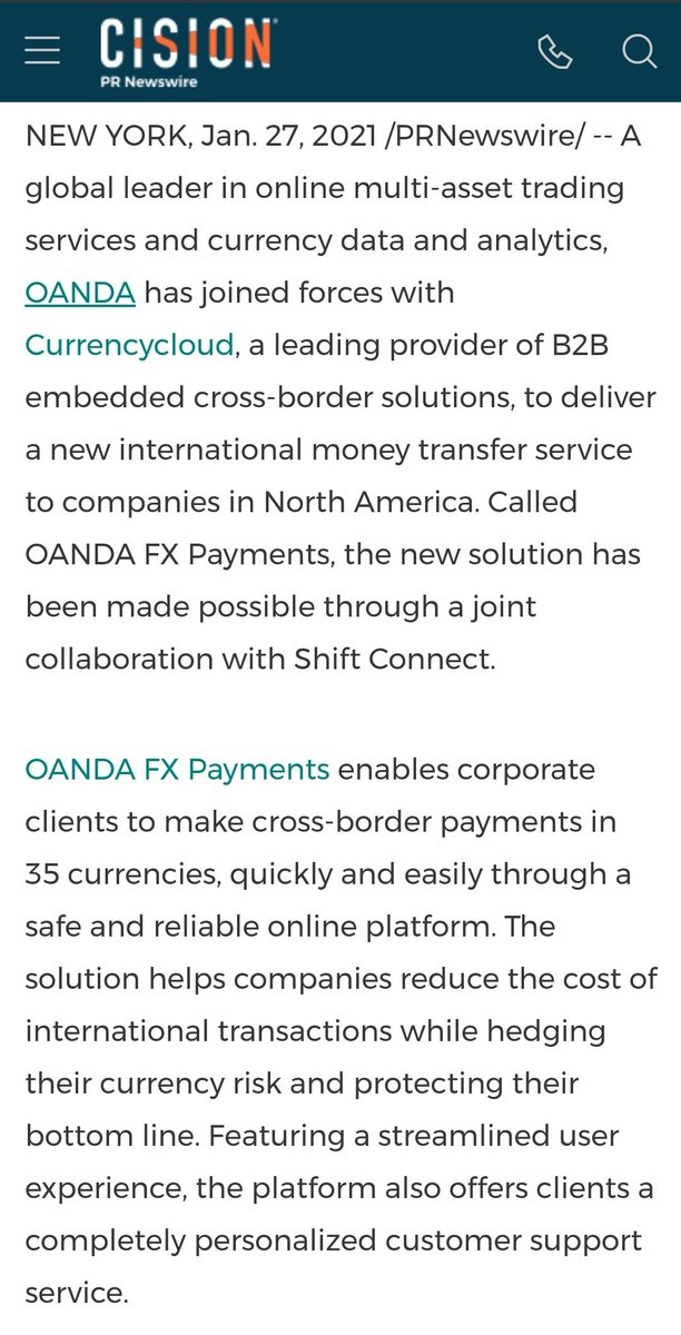 🔥 JUST IN: Ripple partner Currencycloud & OANDA team up to deliver a new international money transfer service to companies in North America. prnewswire.com/news-releases/… #XRP #XRPCommunity #crypto #blockchain