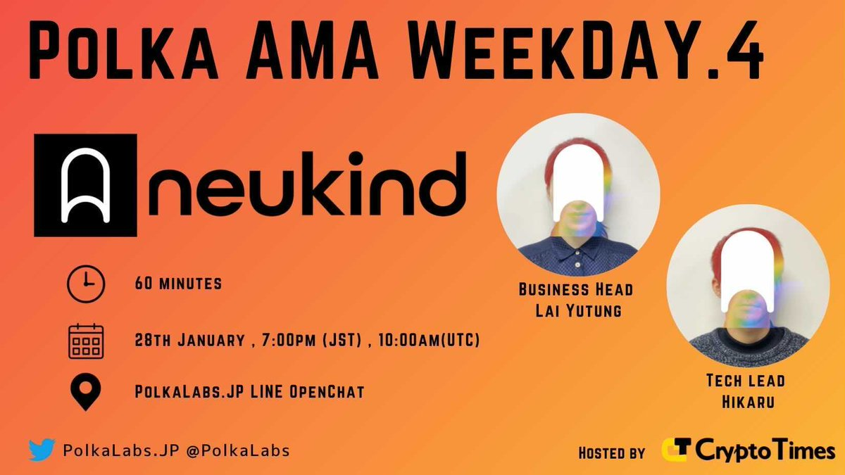 『PolkaAMA Week hosted by CRYPTO TIMES』明日1月28日(木)19:00からNeukind登場👉👉https://t.co/mLgs4A32Uj  NeukindのPolkadotの取り組みとかについて話しますよ。 https://t.co/xp5yy5twhS