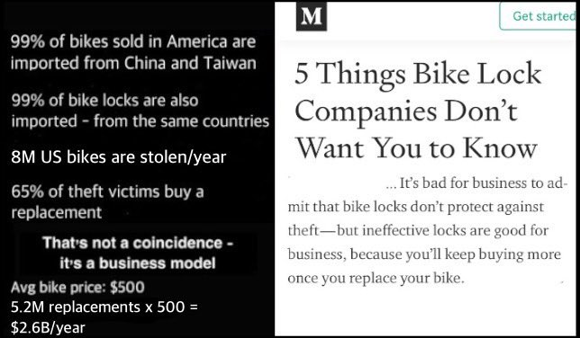 #wednesdaythought   What if the #bicycle security market was just a big scam to sell more bikes & useless devices?  Narrator: it is.