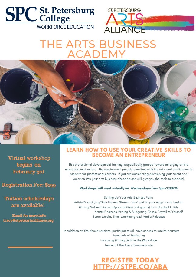 Attention #artists, #musicians, #writers, designers and other creatives! Learn the business behind your art career Feb 3-March 3.  Scholarships are available! #artsbusiness https://t.co/3jFsHL5Kdv https://t.co/vvYXceryYe