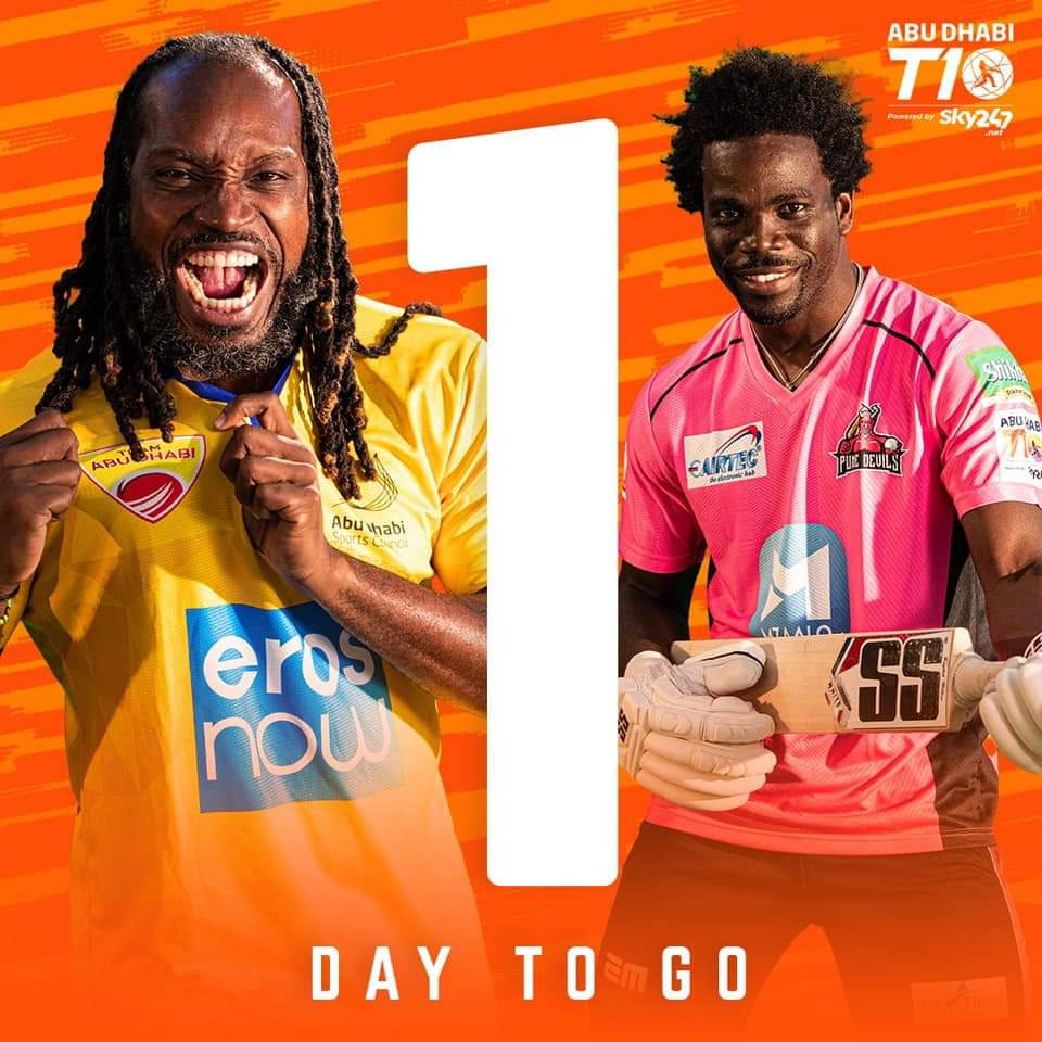 Only 1️⃣ DAY TO GO 🚨  Are you ready for Season 4 of Cricket's Fastest format? 👊  The #AbuDhabiT10 gets underway tomorrow!   Catch all the action across our social media channels 🙌  #InAbuDhabi @T10League https://t.co/PgNYwyxwZ2