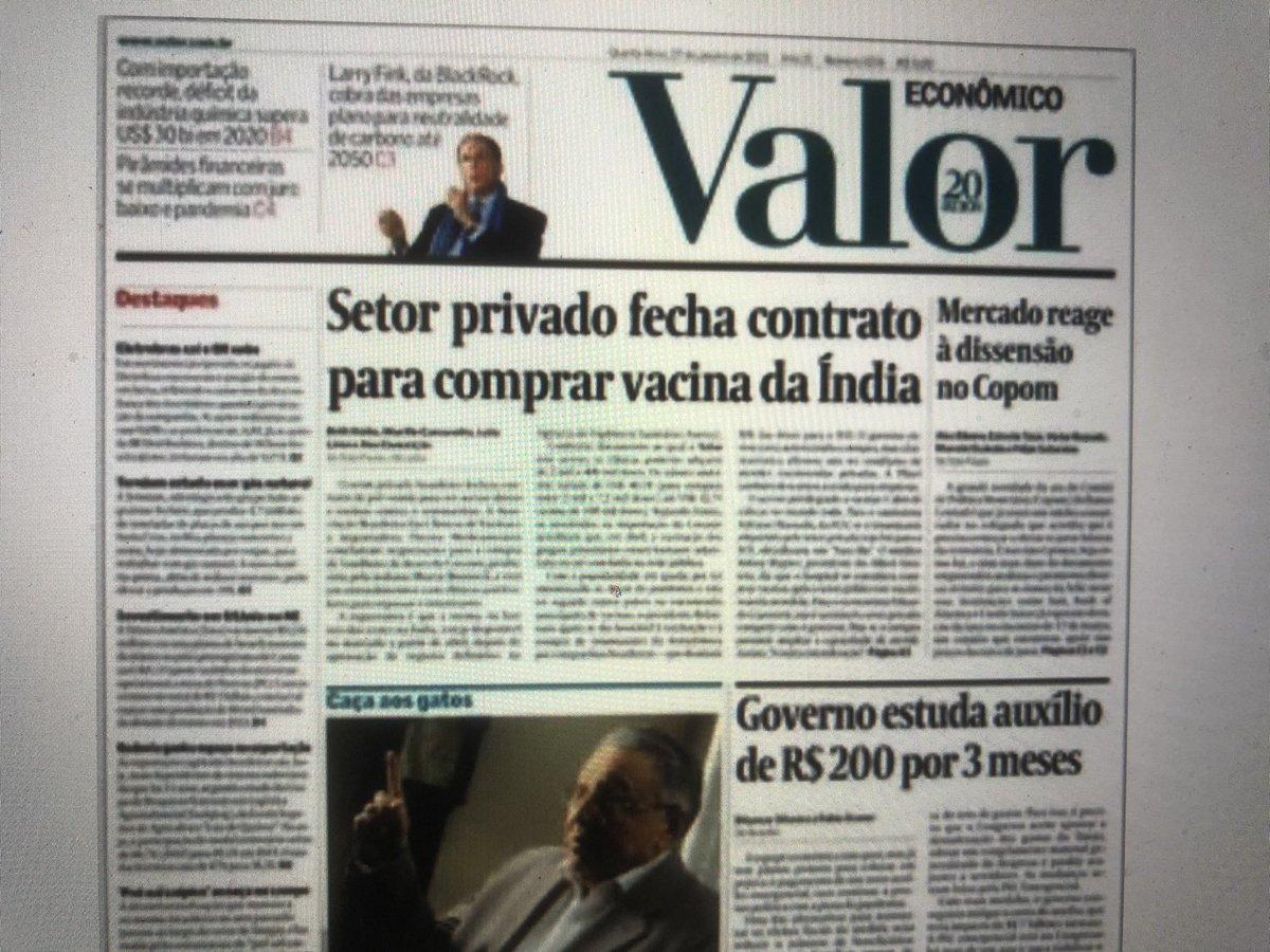Só no Brasil as empresas estão tentando furar a fila da vacina. E em nenhum outro país elas têm o apoio do presidente para isso
