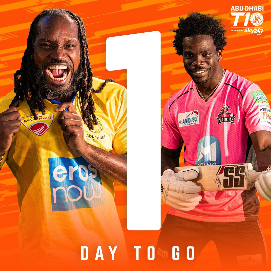 Only 1️⃣ DAY TO GO 🚨  Are you ready for Season 4 of Cricket's Fastest format? 👊  The #AbuDhabiT10 gets underway tomorrow!   Catch all the action across our social media channels 🙌  #inabudhabi https://t.co/w6SOsjYBKJ