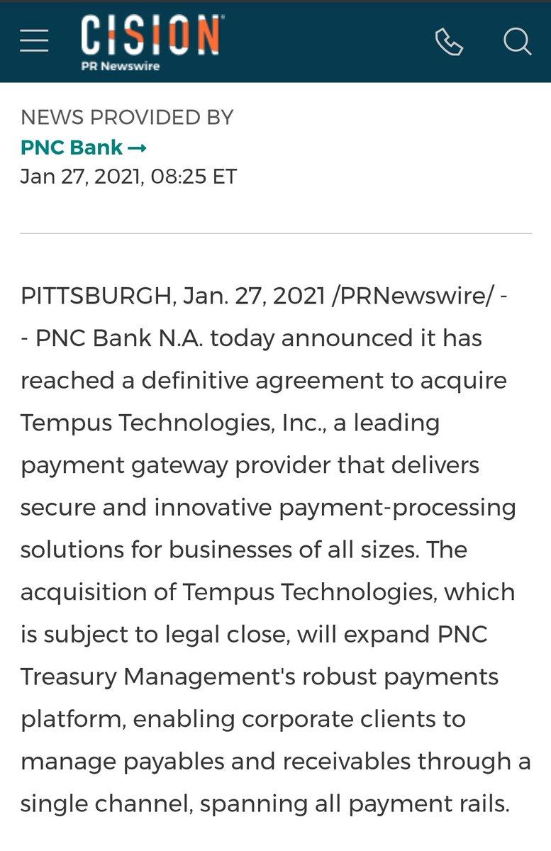 🔥 Ripple Partner PNC Bank Announces Definitive Agreement To Acquire Tempus Technologies, Inc. prnewswire.com/news-releases/… #XRP #XRPCommunity #crypto #blockchain
